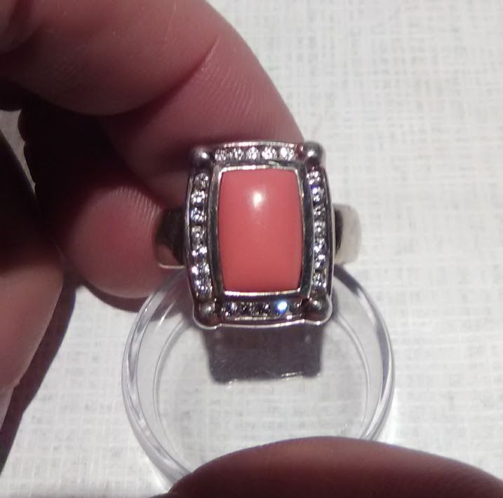 Coral and silver Ring with untested  accent Diamonds ?