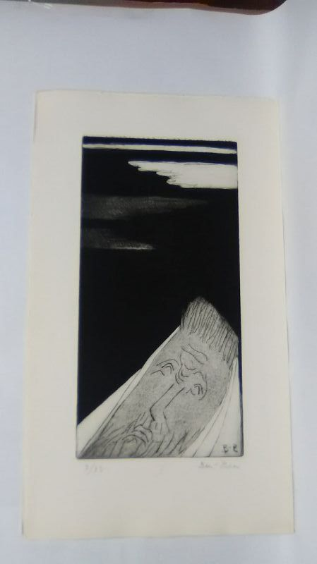 """Ben Zion """" The Life of A Prophet"""" Etching I """" The call"""""""