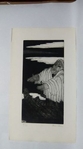 "Ben Zion "" The Life of A Prophet"" Etching III ""Facing  The People"""