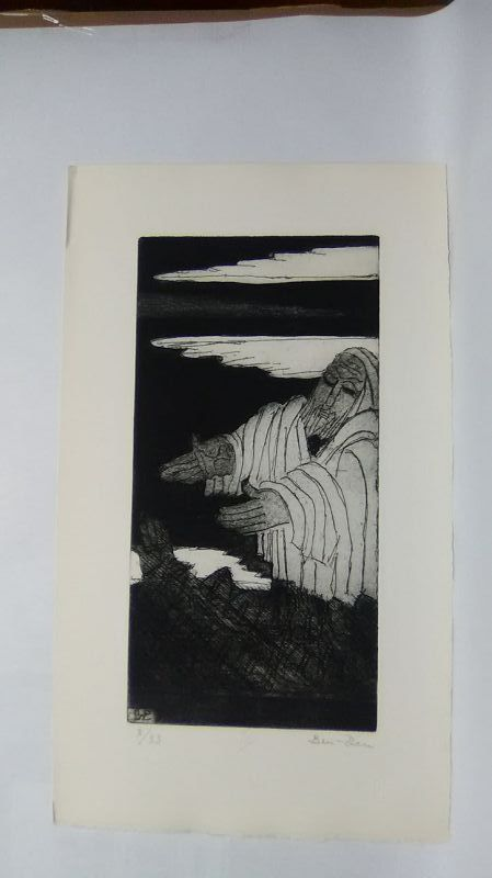 """Ben Zion """" The Life of A Prophet"""" Etching III """"Facing  The People"""""""