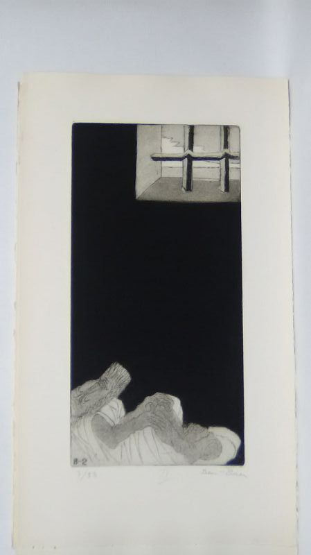 """Ben Zion """" The Life of A Prophet"""" Etching IX """" Incarcerated"""""""
