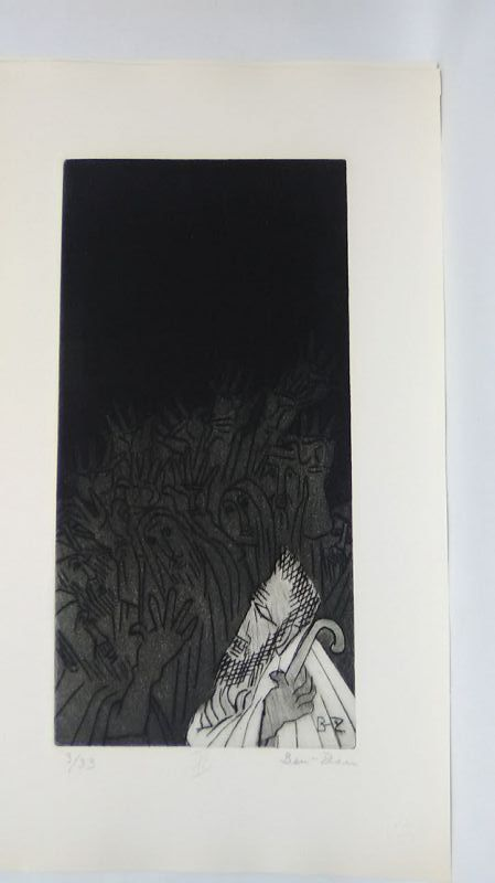 """Ben Zion """" The Life of A Prophet"""" Etching XI """" Facing The Mob"""""""