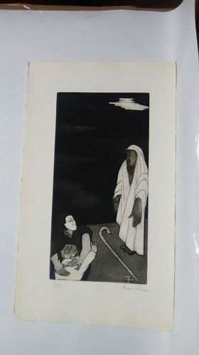 "Ben Zion "" The Life of A Prophet"" Etching XII "" I Became a Reproach"""