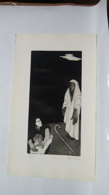 """Ben Zion """" The Life of A Prophet"""" Etching XII """" I Became a Reproach"""""""