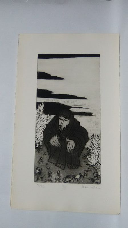 """Ben Zion """" The Life of A Prophet"""" Etching XIII """" In The Desert"""""""