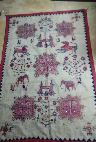 India 19thc Kantha silk embroidered Tapestry