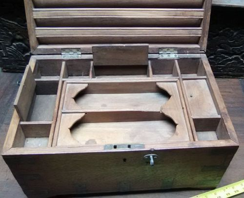 Colonial Teak and Brass Campagne Letter box v8