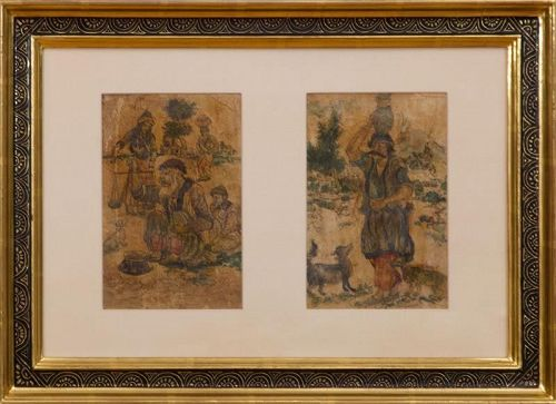 Persian Miniature Paintings on leather Finely Framed