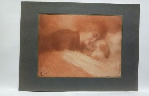 Lucien Lévy-Dhurmer Collotype hand signed limited edition 1917
