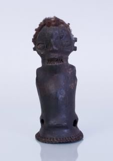 Ekoi leather wood and hair covered ceremonial figure