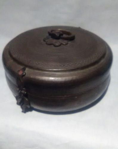 India antique Chapati bronze and copper lidded container