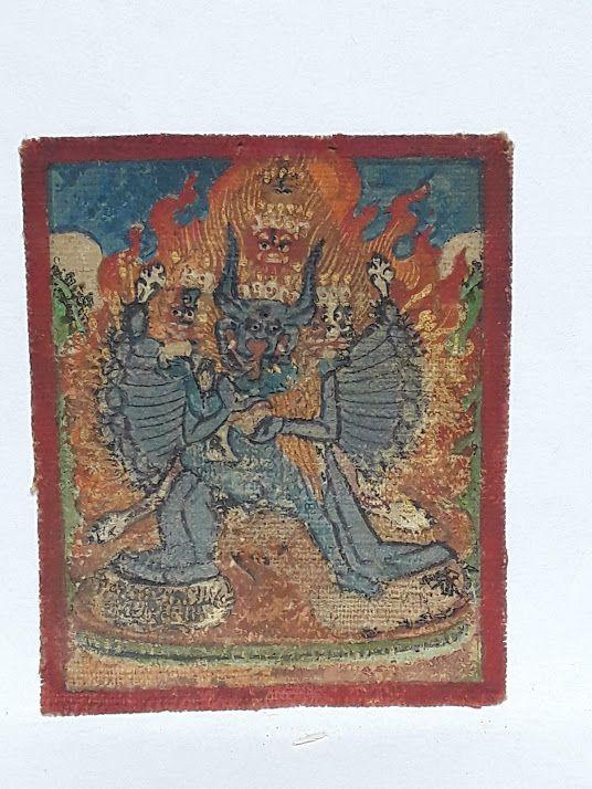 18-19th c Tsakli: Vajrabhairava ground mineral gouache
