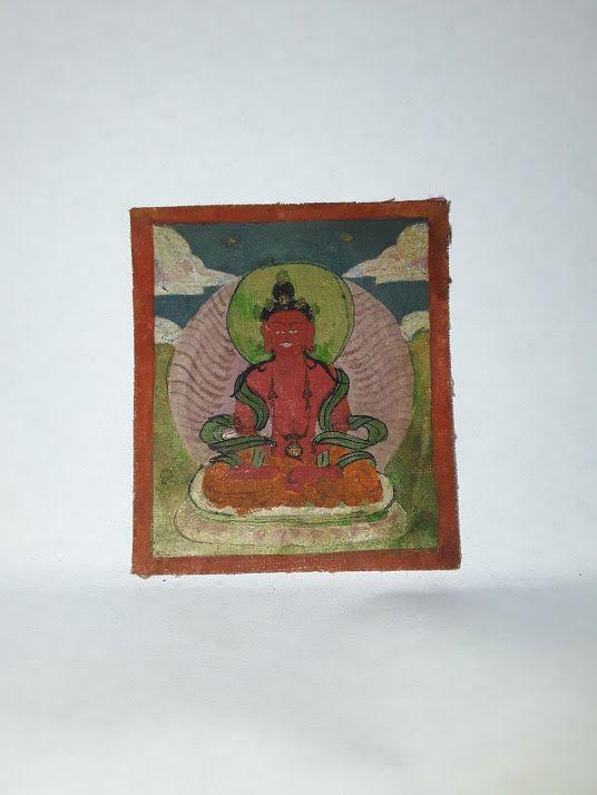Antique Tsakli: Amitayus ground mineral pigments