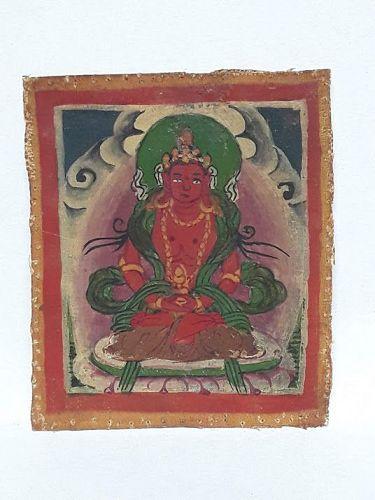 Antique Tsakli Tangka: Amitayus ground mineral pigments