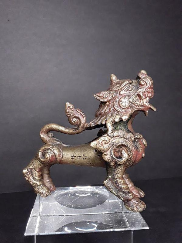 Antique Nepalese Bronze Foo Dog Temple Dragon