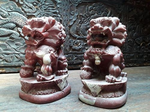 Pair of Vintage Chinese molded Foo Dogs