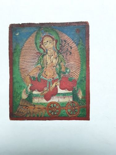 Antique Tsakli miniature Tangka on Cloth