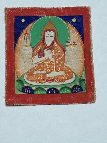 Antique Tsakli miniature Tangka on Cloth of a Monk