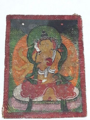 Fine Miniature Tangka  Depicting a Multi headed Deity
