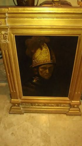 Antique Oil on Panel of Rembrandt s Man in the Golden Helmet