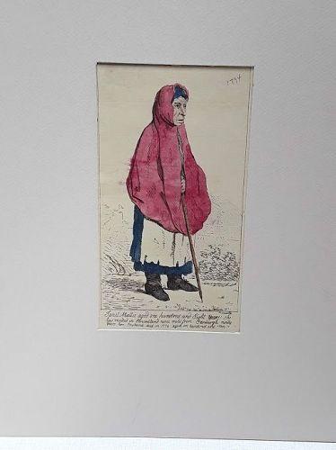 18th c Scottish Engraving Janet Muttie. Of Pencaitland. Centenarian