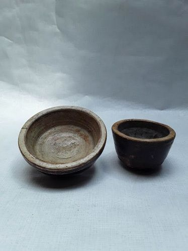 India 19th c hand carved stone spice bowls