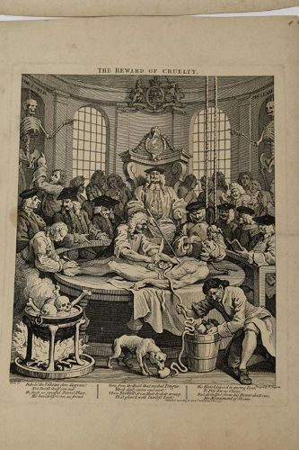 WILLIAM HOGARTH ENGRAVINGS 1751 4 Stages of Cruelty
