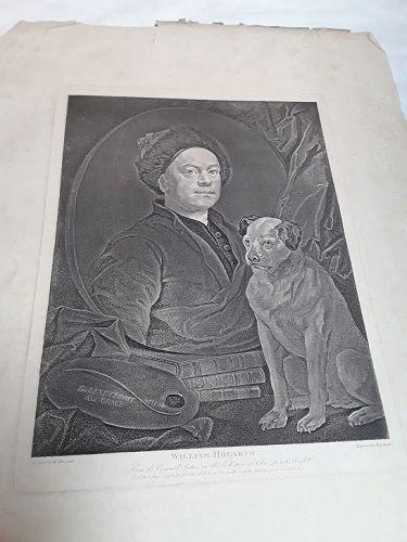 """""""William Hogarth""""  Portrait of Hogarth with his dog Trump  Heath ed"""