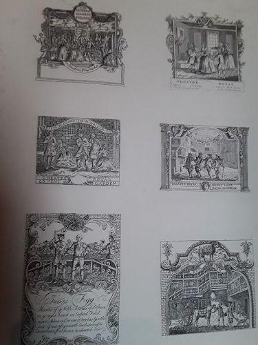 Six Tickets Etched by Joseph  Heath ed Hogarth