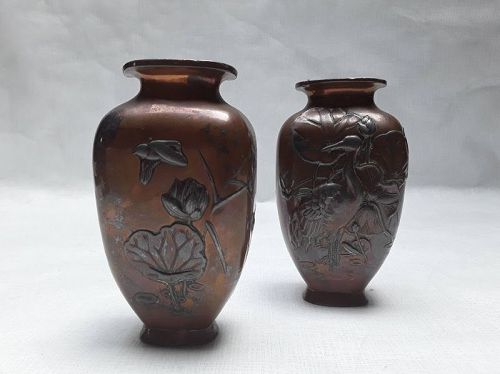Pair of Taisho Copper Clad metal vases v8