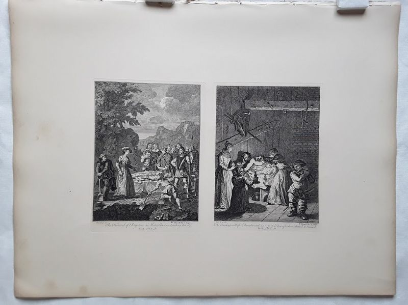 """William Hogarth""  Don Quixote suite 3 sheets Heath ed"