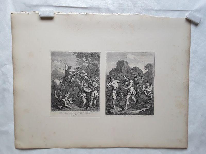 """""""William Hogarth""""  Don Quixote suite 3 sheets Heath ed"""