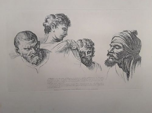 """William Hogarth""Four Heads from the Cartoons at Hampton Court Heath"