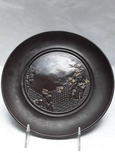 Japanese Late Meiji or Taisho mixed metal Plate