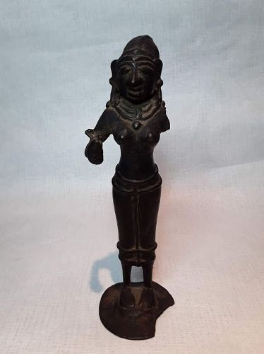 South India 16th c Hindu Copper - Bronze Female Deity