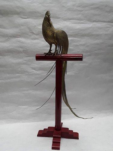 Japan Meiji Gilt Bronze Rooster Okimono on Stand