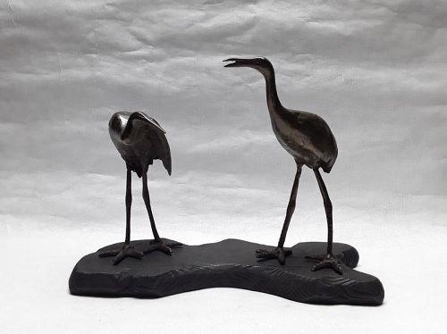 Japanese Bronze Okimono of a pair of Cranes