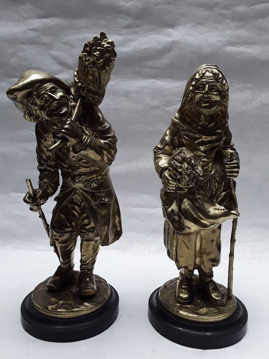 19th C Continental Gilt Bronze pair of Woodsman and Wife