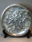 Japanese Meiji Silver clad Charger with Geishas