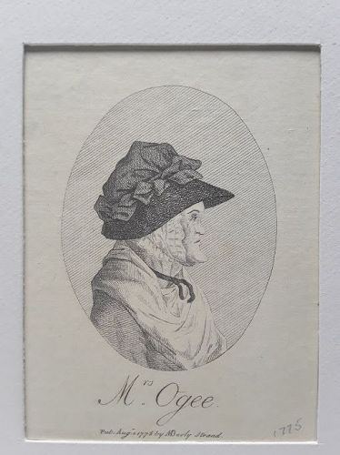 "18th c Mrs Ogee Engraving  ""Pub Aug. 1 1775 by MDarly, Strand""."