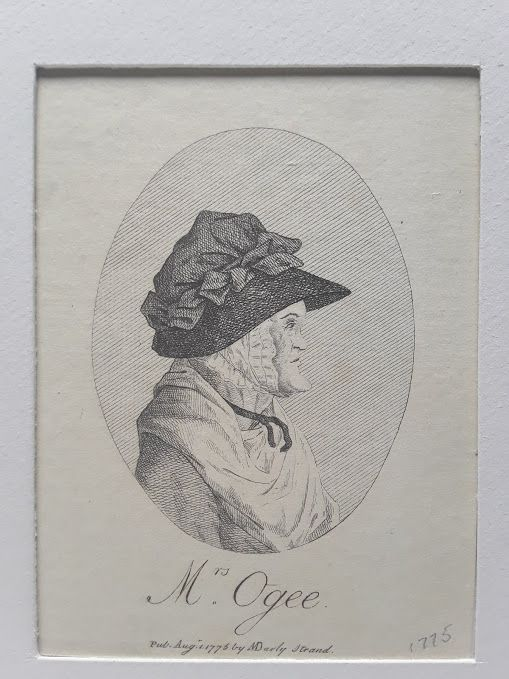 """18th c Mrs Ogee Engraving  """"Pub Aug. 1 1775 by MDarly, Strand""""."""