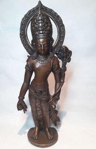 Licchavi Revival Copper Alloy  Silver inlay Indra Padmapuni
