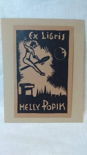Walter Kanitz Wein 1932 Ex Libris Wood block Print