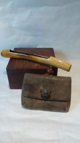 Japanese Edo Staghorn and leather Tobacco pouch and Pipe case