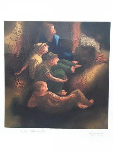 "Obra De Hans Suliman Grudzinski  signed lithograph ""Torcida 111"" v1"