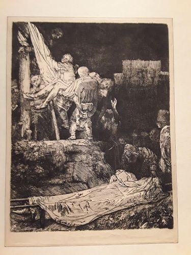 Rembrandt The descent from the cross by torchlight dry point etching