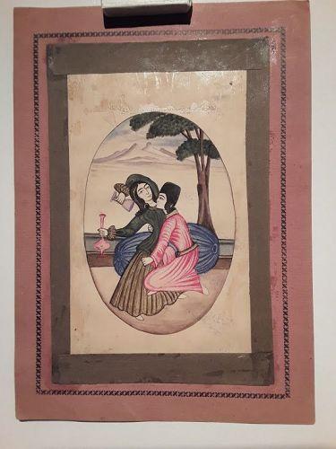 Qajar Miniature Watercolor of Lovers