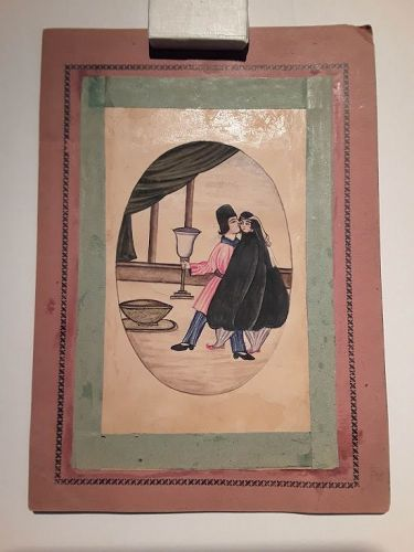 Qajar Miniature Watercolor of a Couple in a Palace
