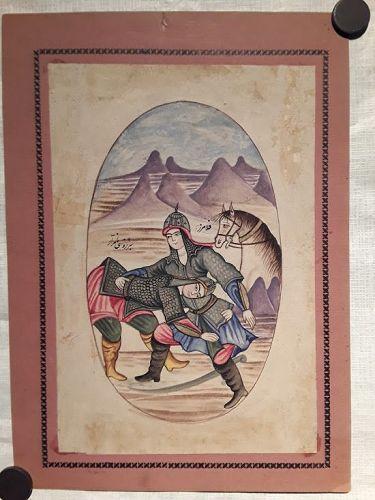 Qajar Miniature Watercolor of Soldiers wrestling