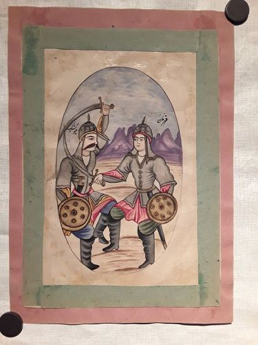Qajar Miniature Watercolor of Soldiers Sword fighting